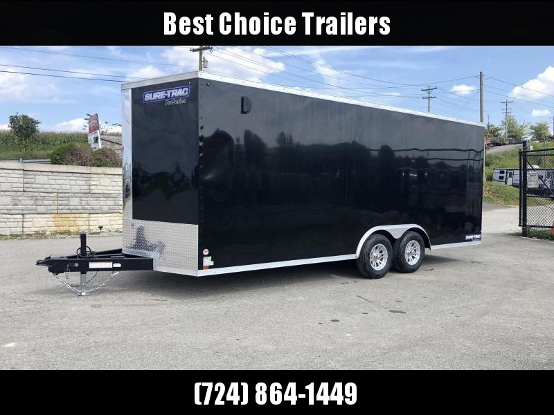 "2021 Sure-Trac 8.5x20' Enclosed Car Trailer 9900# GVW * BLACK * TORSION AXLES * 7K DROP LEG JACK * SCREWLESS * 48"" DOOR * ALUMINUM WHEELS"