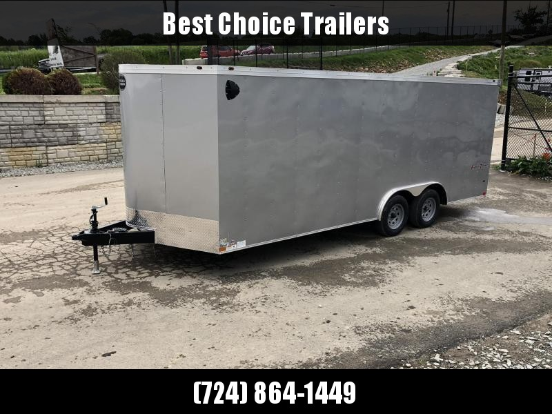 USED 2021 Wells Cargo 8.5x16' Fastrac DELUXE Enclosed Car Trailer 7000# GVW * SILVER EXTERIOR * RAMP DOOR * .030 METAL