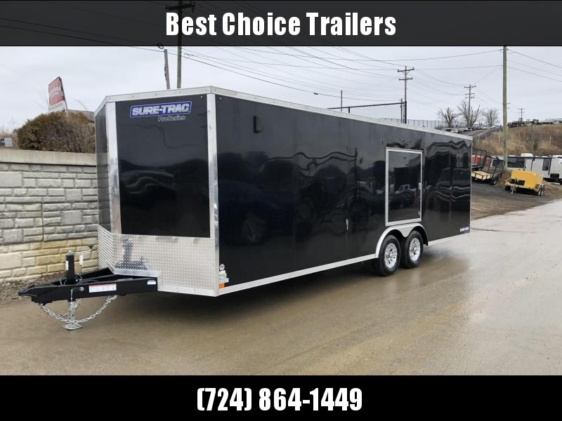 "2020 Sure-Trac 8.5x24' Enclosed Car Hauler Trailer 9900# GVW * DELUXE * BLACK * 7K JACK * ESCAPE HATCH * FINISHED WALLS * NUDO FLOOR & RAMP * TORSION * 48"" DOOR & MORE"