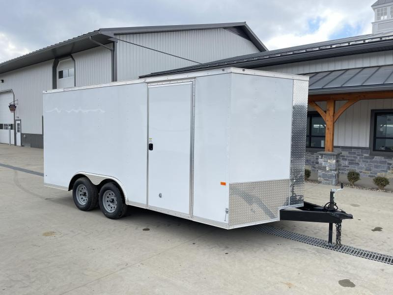2021 Rock Solid Cargo 8.5x16' Enclosed Car Trailer 7000# GVW *  WHITE EXTERIOR * RAMP DOOR * RV DOOR * 16IN O.C. C/M * TUBE STUDS * PLYWOOD WALLS AND FLOOR