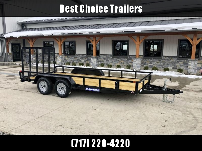 """2021 Sure-Trac 7x14' Tube Top Utility Landscape Trailer 7000# GVW * 2"""" TUBE TOP RAIL * 2X2"""" TUBE GATE C/M + SPRING ASSIST + FOLD FLAT * TOOLESS GATE REMOVAL * SPARE MOUNT * PROTECTED WIRING * SET BACK JACK * TRIPLE TUBE TONGUE * STAKE POCKETS * BULLET LED"""