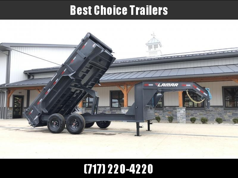 "2021 Lamar 7x14' Gooseneck Dump Trailer 14000# GVW * TARP KIT * SCISSOR HOIST * CHARCOAL * 14-PLY RUBBER * OIL BATH * 12"" O.C. CROSSMEMBERS * DUAL 12K JACKS * REAR SUPPORT STANDS * 7GA FLOOR * RIGID RAILS * NESTLED I-BEAM FRAME 28"" H * 12"" O.C. C/M"