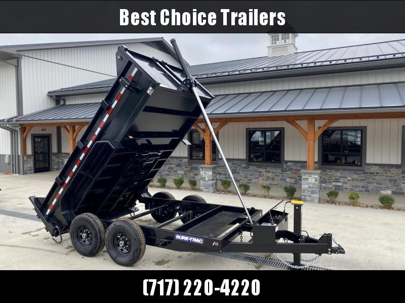 2021 Sure-Trac 7x12' Dump Trailer 12000# GVW * 7 GA FLOOR * HYDRAULIC JACK * DELUXE TARP KIT * TELESCOPIC HOIST * FRONT/REAR BULKHEAD * INTEGRATED KEYWAY * 2' SIDES * UNDERBODY TOOL TRAY * ADJUSTABLE COUPLER * COMBO GATE * CLEARANCE
