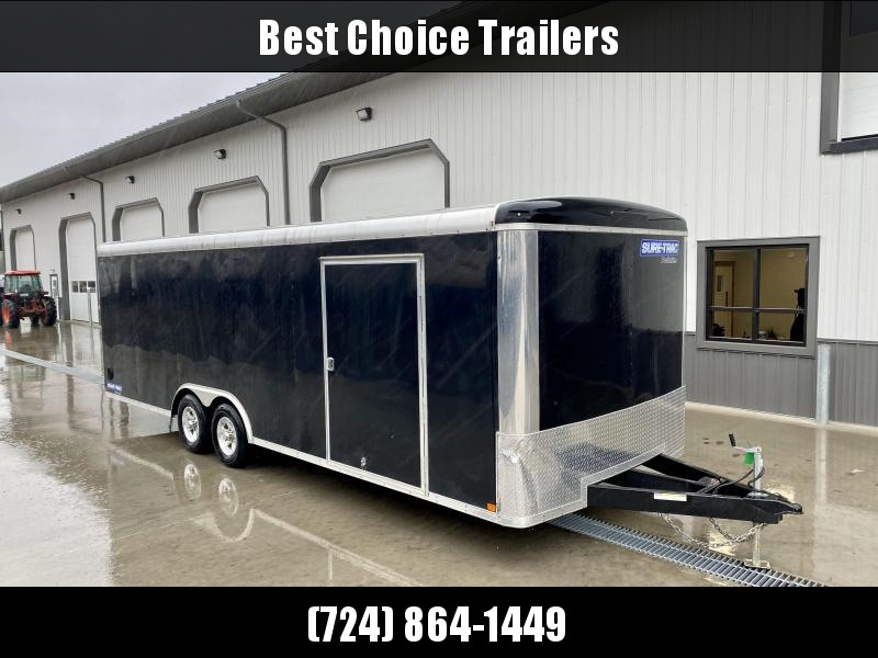 "USED 2017 Sure-Trac 8.5x24' Pro Series Enclosed Car Hauler Trailer 9900# GVW * BLACK EXTERIOR * .030 SCREWLESS EXTERIOR * ROUND TOP * ALUMINUM WHEELS * 1 PC ROOF * 6"" TUBE FRAME * 48"" RV DOOR * PLYWOOD * 5200# AXLES * TUBE STUDS * CUSTOM SHELVING * SPARE"