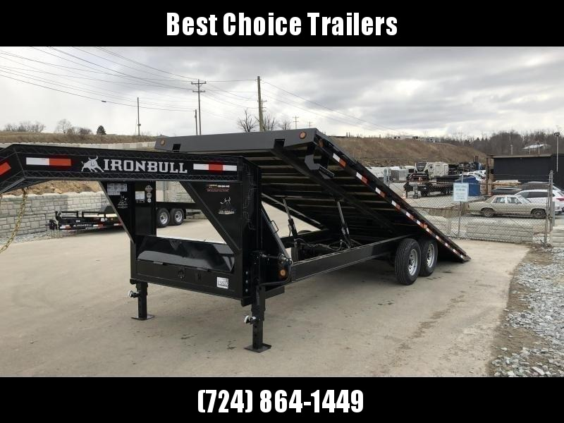 "2021 Ironbull 102x22' Gooseneck Deckover Power Tilt Trailer 14000# GVW * DUAL PISTON * I-BEAM FRAME * RUBRAIL/STAKE POCKETS/PIPE SPOOLS/D-RINGS/BANJO EYES * 6"" TUBE BED FRAME * 4X4X1/4 WALL TUBE BED RUNNERS (12#/') * DUAL 12K JACKS * 2-3-2 WARRANTY"
