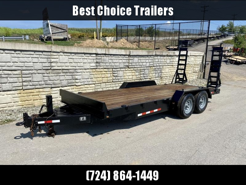 USED 2007 Mustang 7x18' Equipment Trailer 14000# GVW * STAND UP RAMPS * D-RINGS/STAKE POCKETS * ADJUSTABLE PINTLE COUPLER * DROP LEG JACK * TOOLBOX