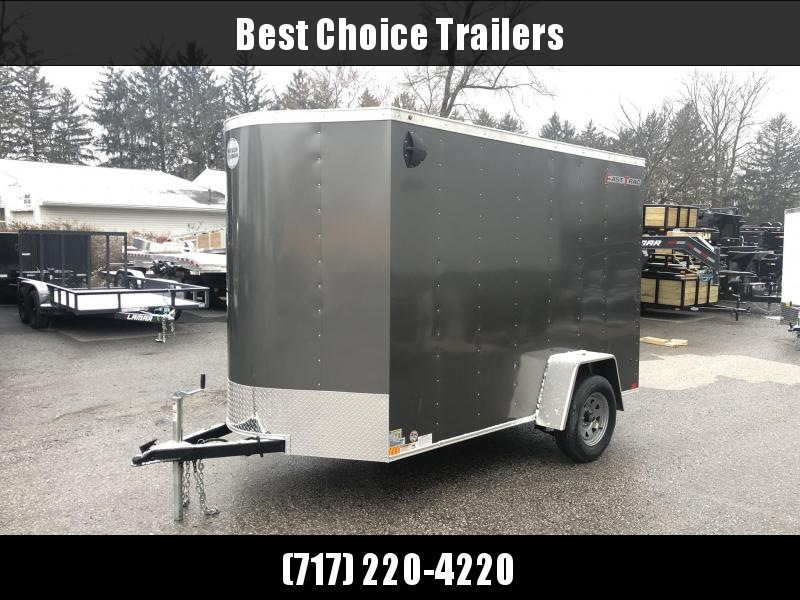 """2019 Wells Cargo 6x10' Fastrac DELUXE Enclosed Cargo Trailer 2990# GVW * CHARCOAL EXTERIOR * RAMP DOOR * V-NOSE * .030 EXTERIOR * 6'6"""" HEIGHT * TUBE STUDS * 3/8"""" WALLS * 1 PC ROOF * 16"""" O.C. WALLS * BULLET LED'S * CLEARANCE"""