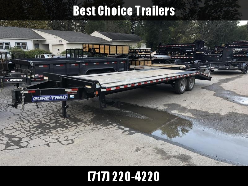 "USED 2019 Sure-Trac 102x25' HD Beavertail Deckover Trailer 17600# GVW * 8000# AXLES * 17.5"" 16-PLY TIRES * 3 3/8"" BRAKES * FLIPOVER RAMPS + SPRING ASSIST * 12"" I-BEAM * PIERCED FRAME * RUBRAIL/STAKE POCKETS/PIPE SPOOLS/10 D-RINGS * CROSS TRAC * CLEARANCE"