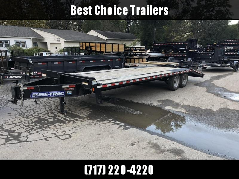 """USED 2019 Sure-Trac 102x25' HD Beavertail Deckover Trailer 17600# GVW * 8000# AXLES * 17.5"""" 16-PLY TIRES * 3 3/8"""" BRAKES * FLIPOVER RAMPS + SPRING ASSIST * 12"""" I-BEAM * PIERCED FRAME * RUBRAIL/STAKE POCKETS/PIPE SPOOLS/10 D-RINGS * CROSS TRAC * CLEARANCE"""