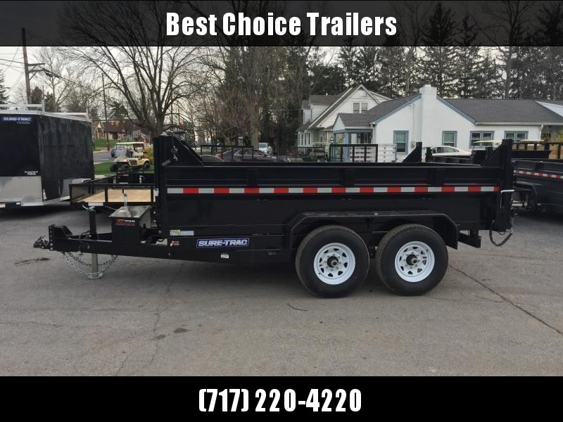 2021 Sure-Trac 7x12' Dump Trailer 12000# GVW * TELESCOPIC HOIST * FRONT/REAR BULKHEAD * INTEGRATED KEYWAY * 2' SIDES * UNDERBODY TOOL TRAY * ADJUSTABLE COUPLER * 110V CHARGER * UNDERMOUNT RAMPS * COMBO GATE * 7K DROP LEG JACK * SPARE MOUNT