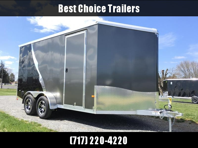 Neo 7x14 NAMR Aluminum Enclosed Motorcycle Trailer * BLACK AND PEWTER * DRT SPOILER * LOAD LIGHTS * EXTRA HEIGHT * ALUMINUM WHEELS