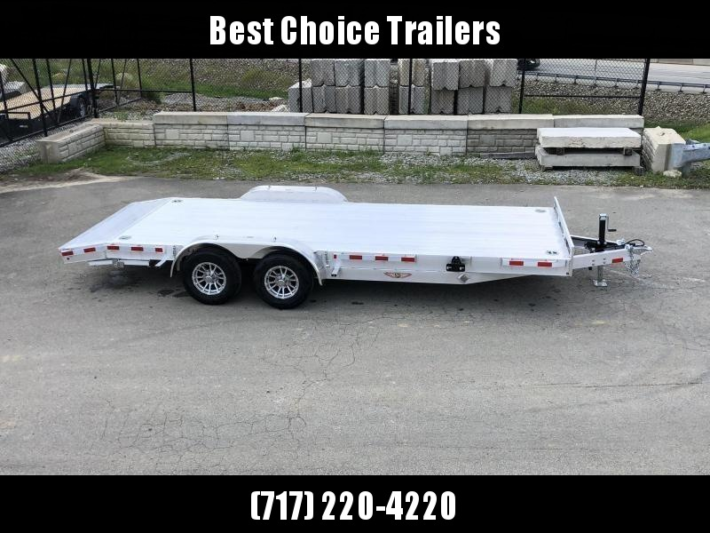 "2021 Sure Trac 7x20' Deluxe Aluminum Car Hauler Trailer 9990# GVW * EXTRUDED ALUMINUM FLOOR * 5200# AXLES * SWIVEL D-RINGS * HEAVY DUTY 8"" FRAME * DROP LEG JACK * ALUMINUM WHEELS * REMOVABLE FENDERS * CHANNEL C/M"