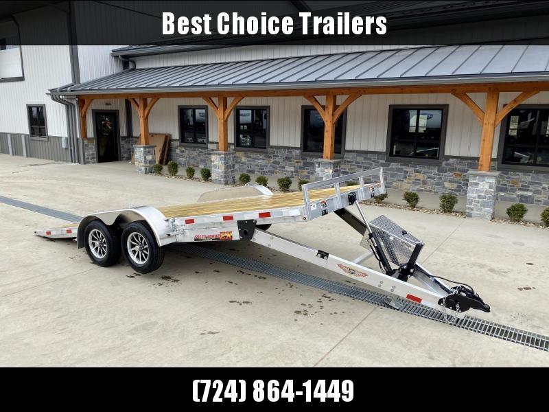 "2022 H&H 7x18' Aluminum Power Tilt Car Hauler Trailer 7000# GVW * POWER TILT * ALUMINUM TOOLBOX * 6"" TONGUE AND FRAME * REMOVABLE FENDERS * ALUMINUM WHEELS * DROP JACK"