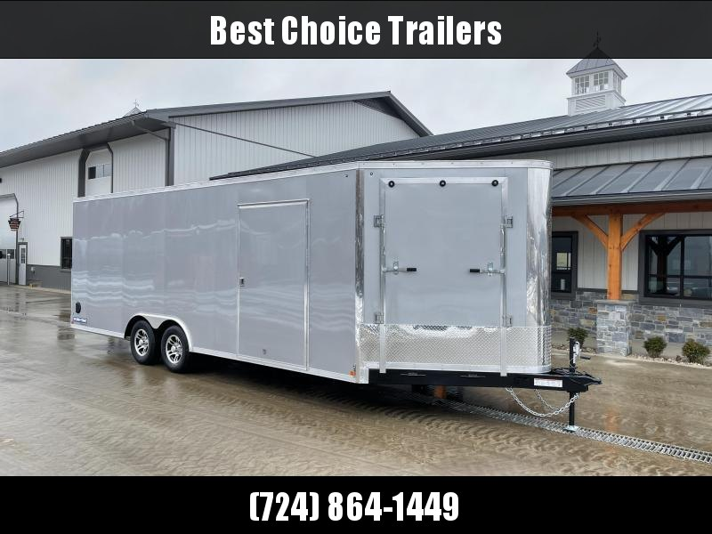 "2021 Sure-Trac 8.5x22' Enclosed Car Trailer 9900# GVW * SILVER EXTERIOR * 5' EXTENDED NOSE * FRONT RAMP * 7' INSIDE HEIGHT * ESCAPE HATCH * TORSION AXLES * 7K DROP LEG JACK * SCREWLESS * 48"" DOOR * ALUMINUM WHEELS"