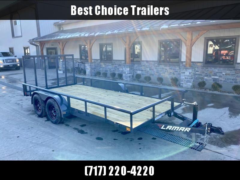 "2021 Lamar 7x16' Deluxe Utility Landscape Trailer 7000# GVW * ADJUSTABLE COUPLER * PIPE TOP RAIL * 7K DROP LEG JACK * CHARCOAL * HD GATE/2X2"" TUBE C/M + SPRING ASSIST * COLD WEATHER HARNESS * 4"" CHANNEL TONGUE * STAKE POCKETS * TEARDROP FENDERS * BULLET L"