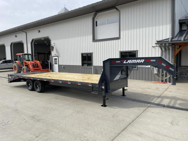 "2021 Lamar Trailers 102x25' HD Gooseneck Deckover Trailer 14000# GVW * 12"" I-BEAM * FULL WIDTH RAMPS * FRONT TOOLBOX * DUAL JACKS * CHARCOAL"