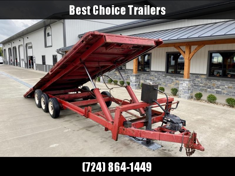 USED Viking Spirit 102x24' Deckover Power Tilt Trailer 20000# GVW * WINCH * RED IN COLOR * CHAIN TRAY * ADJUSTABLE COUPLER * RUBRAIL/STAKE POCKETS/D-RINGS