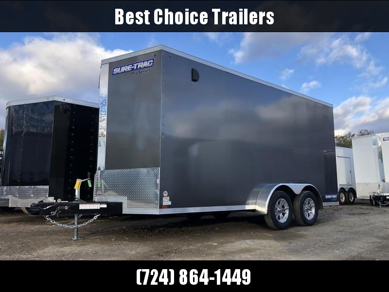 "2021 Sure-Trac 7x14' Enclosed Cargo Trailer 7000# GVW * CHARCOAL * TORSION * SCREWLESS * ALUM WHEELS * 1PC ROOF * 6'6"" H * 6"" FRAME"