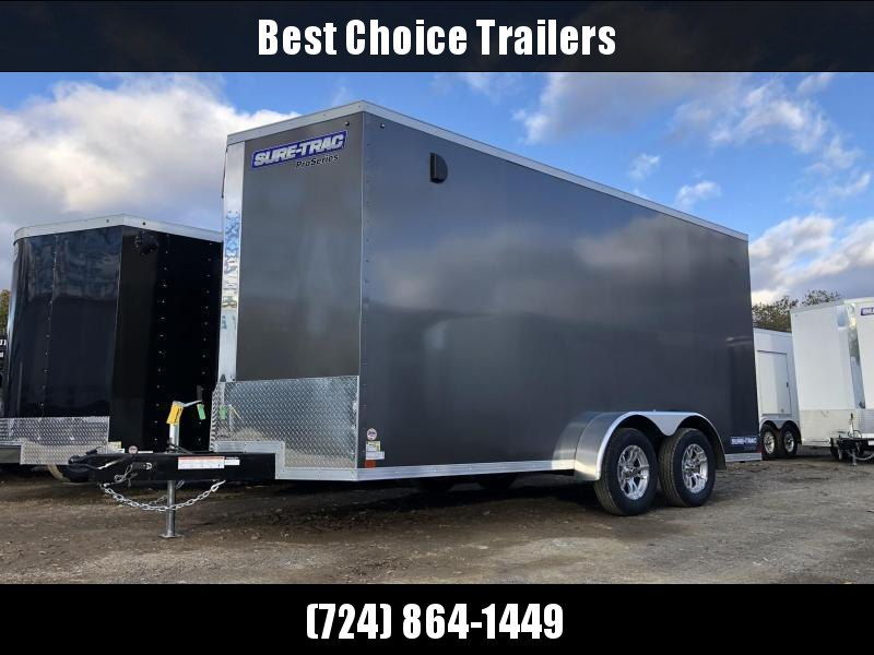 "2021 Sure-Trac 7x14' Enclosed Cargo Trailer 7000# GVW * CHARCOAL * TORSION * SCREWLESS * ALUM WHEELS * 1PC ROOF * 6'6"" H * 6"" FRAME"
