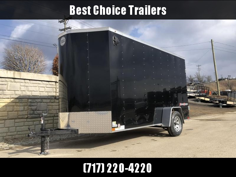 """2022 Wells Cargo 6x10' Fastrac DELUXE Enclosed Cargo Trailer 2990# GVW * BLACK EXTERIOR * RAMP DOOR * V-NOSE * .030 EXTERIOR * 6'6"""" HEIGHT * TUBE STUDS * 3/8"""" WALLS * 1 PC ROOF * 16"""" O.C. WALLS * BULLET LED'S * CLEARANCE"""