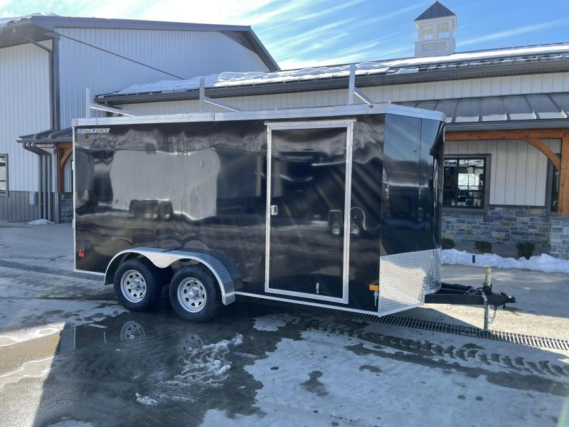 """2021 Wells Cargo 7x16' Road Force Enclosed Contractor Trailer 7000# GVW * BLACK * CONTRACTOR PACKAGE * 3 LADDER RACKS * 3/4"""" WALLS * SCREWLESS .030 EXTERIOR * 1 PC ALUM ROOF * 6'6"""" HEIGHT * TUBE STUDS * RV DOOR * ARMOR GUARD * EXTENDED TRIPLE TUBE TONG"""