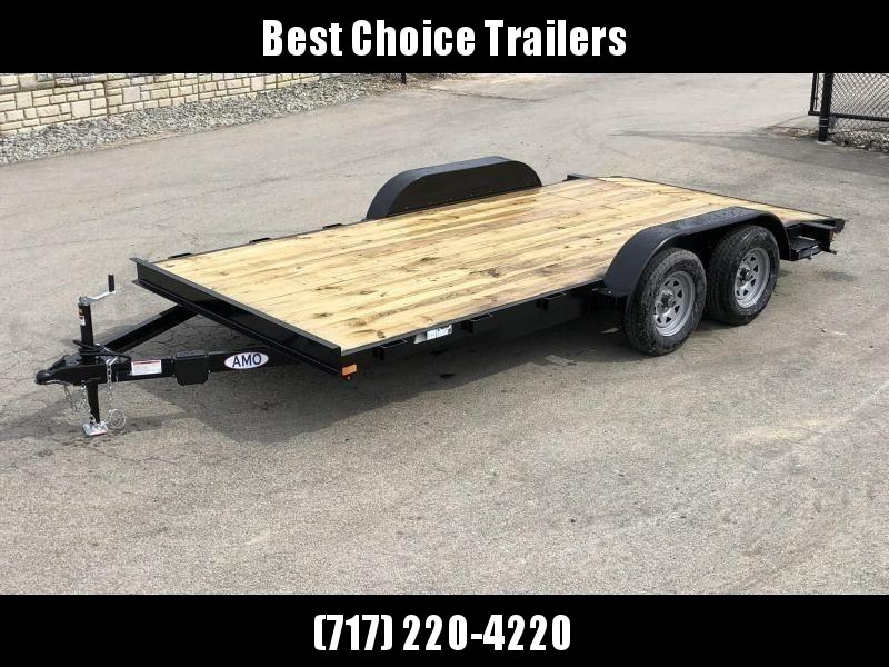 2021 AMO 7x16' Wood Deck Car Trailer 7000# GVW * LED TAIL LIGHTS * STACKED CHANNEL TONGUE/FRAME * BEAVERTAIL * REMOVABLE FENDERS * 2-AXLE BRAKES