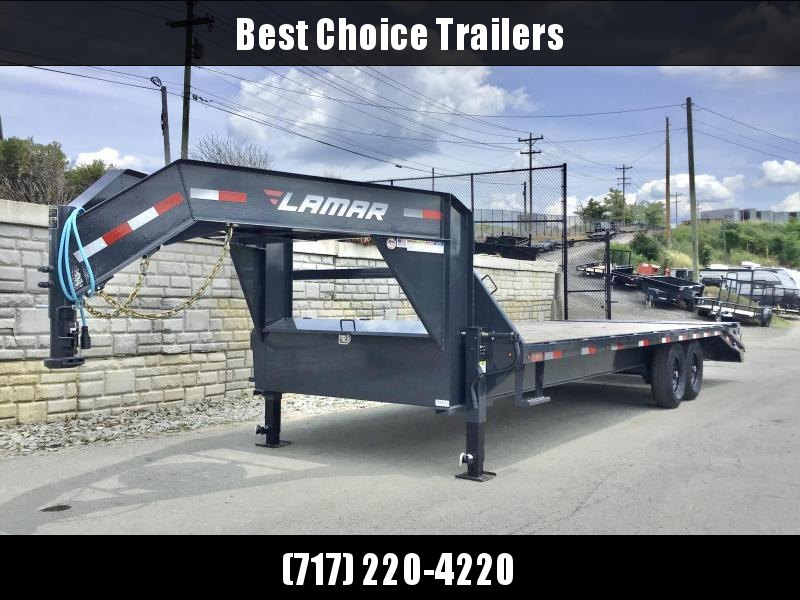"2020 Lamar Trailers 102x25' HD Gooseneck Deckover Trailer 14000# GVW * 12"" I-BEAM * FULL WIDTH RAMPS * FRONT TOOLBOX * DUAL JACKS * BLACK"