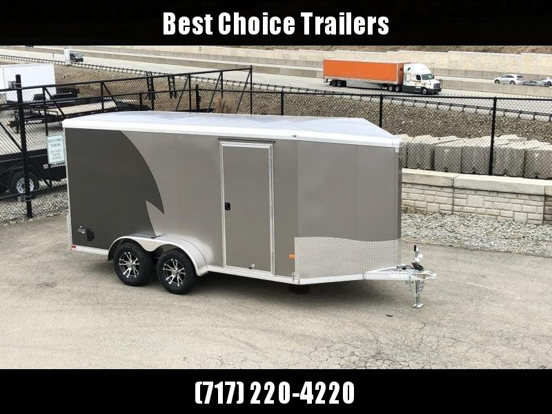 """2020 Neo 7x16 NAMR Aluminum Enclosed Motorcycle Trailer * VINYL WALLS * ALUMINUM WHEELS * +6"""" HEIGHT * PEWTER+CHARCOAL * SPORT TIE DOWN SYSTEM"""