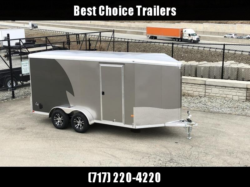 "2020 Neo 7x16 NAMR Aluminum Enclosed Motorcycle Trailer * VINYL WALLS * ALUMINUM WHEELS * +6"" HEIGHT * PEWTER+CHARCOAL * SPORT TIE DOWN SYSTEM"