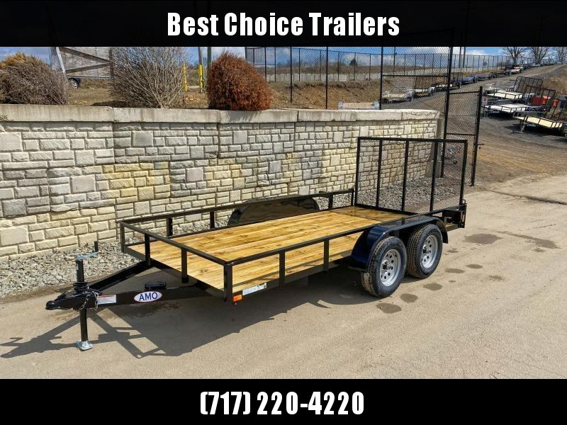 "2021 AMO 76x16' Angle Iron Utility Landscape Trailer 7000# GVW * 4"" CHANNEL TONGUE * RADIAL TIRES * TUBE GATE C/M * BRAKES ON BOTH AXLES * LED LIGHTS"