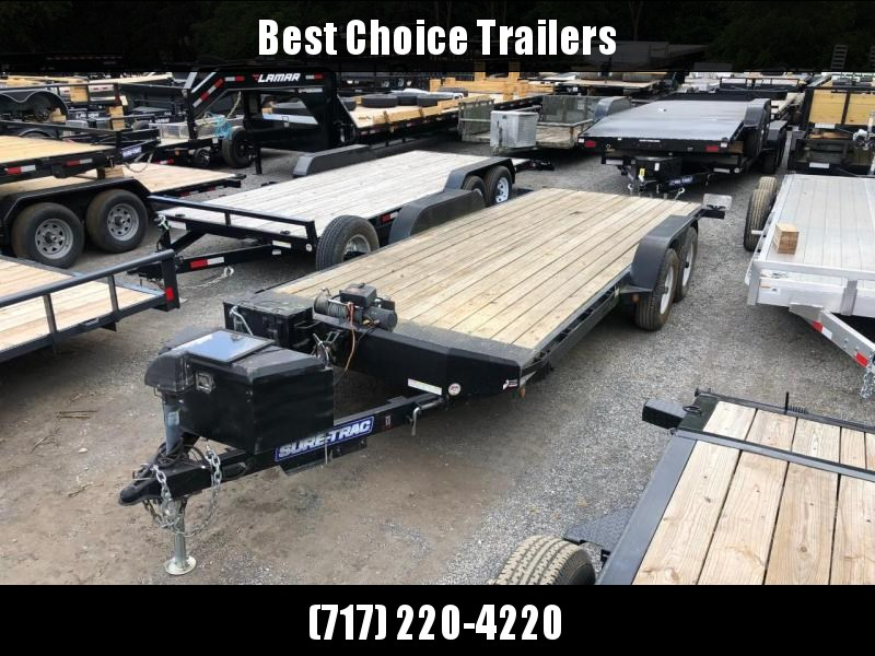 USED 2014 Sure-Trac Power Tilt Car Hauler Trailer 9990# GVW * POWER JACK * POWER TILT * SOLAR CHARGER * SPARE TIRE & MOUNT * LOTS OF TIE DOWNS