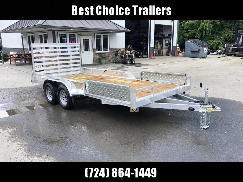 2021 QSA 7x16' Aluminum Utility Landscape Trailer 7000# GVW * STANDARD MODEL * TUBE FRAME AND TONGUE * SPARE MOUNT * TIE DOWNS * 4' FOLD IN GATE * LED'S * FENDER GUSSETS * TUBE TOP RAIL