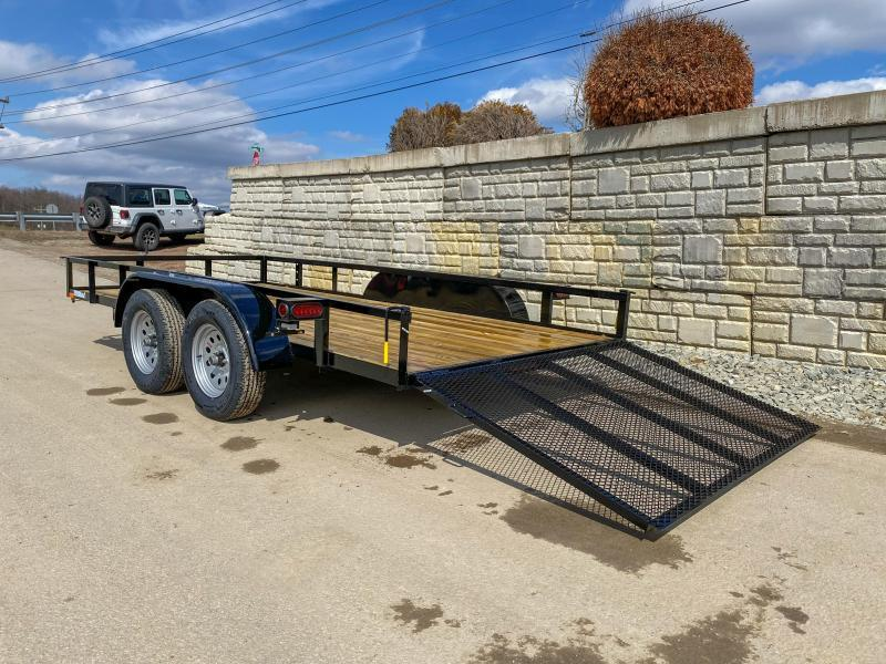 """2021 AMO 76x16' Angle Iron Utility Landscape Trailer 7000# GVW * 4"""" CHANNEL TONGUE * RADIAL TIRES * TUBE GATE C/M * BRAKES ON BOTH AXLES * LED LIGHTS * CLEARANCE"""