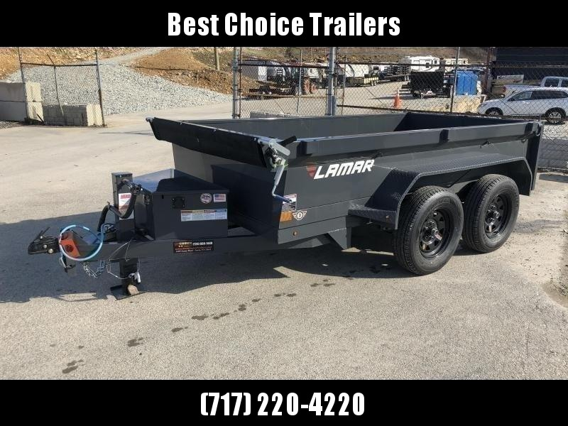 "2021 Lamar 5x10' Deluxe Dump Trailer 7000# GVW * DELUXE TARP KIT * 7K JACK UPGRADE * UNDERMOUNT RAMPS * CHARCOAL * ADJUSTABLE COUPLER * RIGID RAILS * 110V CHARGER * DOUBLE CHANNEL FRAME * 10GA FLOOR * POWER UP/DOWN * 4"" CHANNEL BED FRAME"