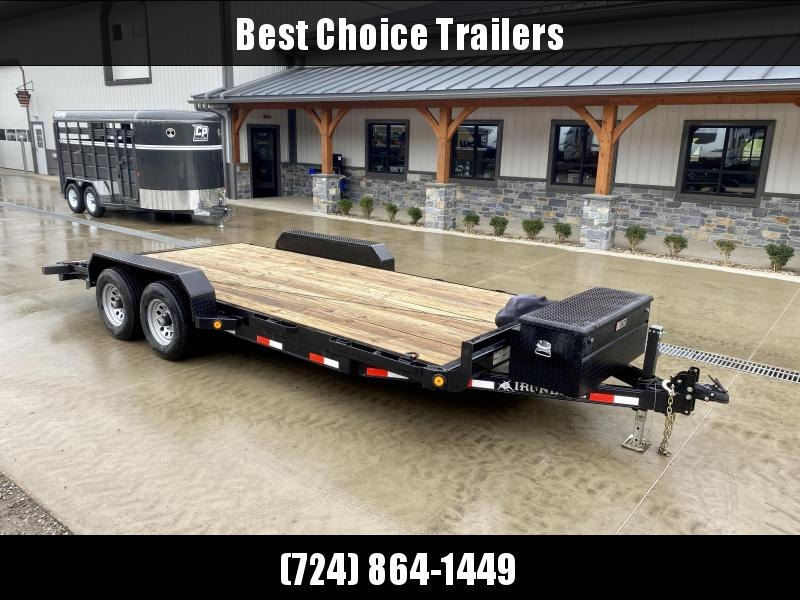 """USED 2019 Ironbull 7x18' Wood Deck Car Hauler Trailer 9990# GVW * TOOLBOX * WINCH PKG * OVERWIDTH RAMPS * 16"""" O.C. FLOOR * CHANNEL C/M * RUBRAIL/STAKE POCKETS/PIPE SPOOLS/D-RINGS * 9000# WINCH * TOOLBOX * ADJUSTABLE COUPLER * DROP LEG JACK"""
