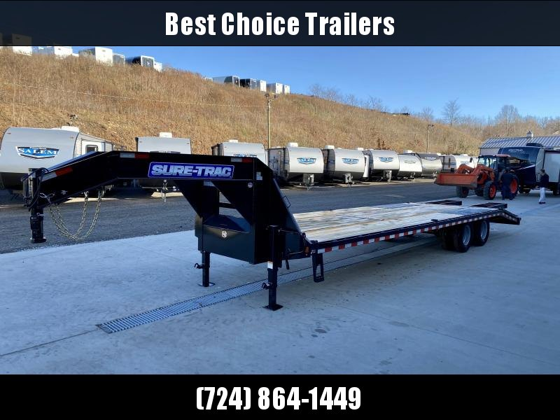 "2021 Sure-Trac 102x30' Gooseneck Beavertail Deckover Trailer 22500# GVW * DEXTER AXLES * FLIPOVER RAMPS + SPRING ASSIST * 12"" I-BEAM * PIERCED FRAME * RUBRAIL/STAKE POCKETS/PIPE SPOOLS/10 D-RINGS * CROSS TRAC BRACING * HD BEAVERTAIL * CLEARANCE"