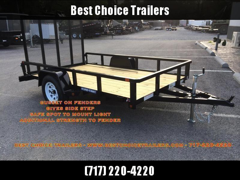 "2021 Sure-Trac 7x12' Solid Side Utility Landscape Trailer 2990# GVW * 2X2"" TUBE GATE C/M + SPRING ASSIST * FOLD FLAT GATE * TOOLESS GATE REMOVAL * SPARE MOUNT * PROTECTED WIRING * SET BACK JACK * TRIPLE TUBE TONGUE * HD FENDERS * TUBE BUMPER * HIGH SIDE"
