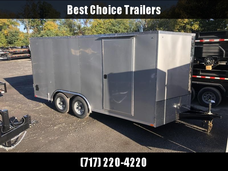 "2021 ITI Cargo 8.5x16 Enclosed Car Hauler Trailer 7000# GVW * SILVER EXTERIOR * .030 SEMI-SCREWLESS * RV DOOR * 1 PC ROOF * 3/8"" WALLS * 3/4"" FLOOR * PLYWOOD * TRIPLE TUBE TONGUE * 6'6"" INTERIOR * 24"" STONEGUARD * HIGH GLOSS PAINTED FRAME * D-RINGS"