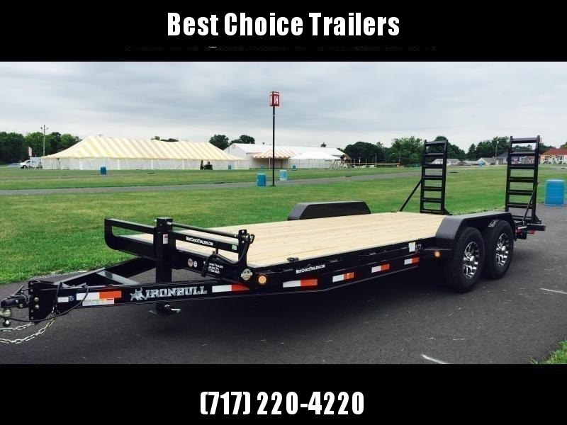 """2022 Ironbull 7x24' Equipment Trailer 14000# GVW * 8"""" CHANNEL TONGUE/FRAME UPGRADE * KNIFEEDGE RAMP W/ ADJUSTABLE SUPPORT * REMOVABLE FENDERS * 16"""" O.C. STRUCTURAL CHANNEL C/M * RUBRAIL/STAKE POCKETS/PIPE SPOOLS/D-RINGS * ADJUSTABLE CAST COUPLER * 12K JAC"""
