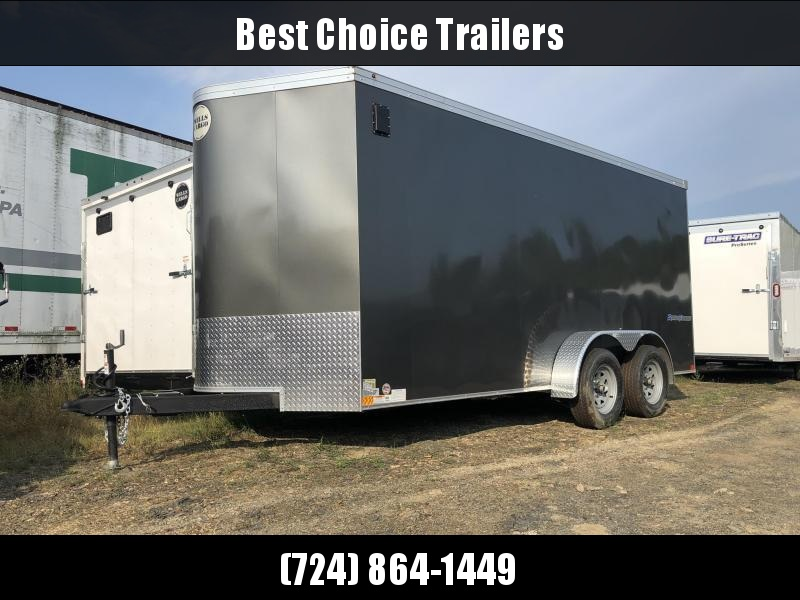 "2021 Wells Cargo 7x16' Road Force Enclosed Cargo Trailer 7000# GVW * CHARCOAL EXTERIOR * RAMP DOOR * V-NOSE * SCREWLESS .030 EXTERIOR * 6'6"" HEIGHT * TUBE STUDS * 1 PC ROOF * 16"" O.C. WALLS/FLOOR * RV DOOR * ARMOR GUARD * BULLET LED'S"