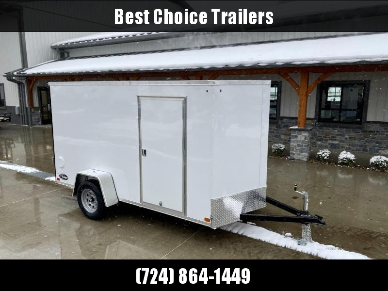 "2021 ITI Cargo 7x12' Enclosed Cargo Trailer 2990# GVW * WHITE EXTERIOR * .030 SEMI-SCREWLESS * 1 PC ROOF * 3/8"" WALLS * 3/4"" FLOOR * 16"" STONEGUARD * HIGH GLOSS PAINTED FRAME"
