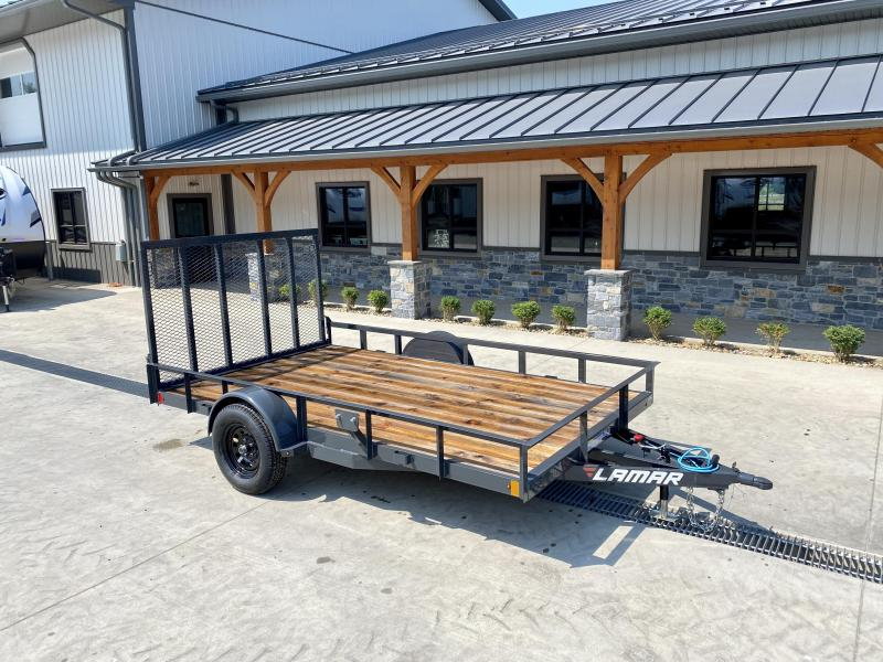 2021 Lamar 7x12' Utility Landscape Trailer 2990# GVW * CHANNEL FRAME * SPARE TIRE MOUNT * CAST COUPLER * SWIVEL JACK * COLD WEATHER HARNESS * STAKE POCKETS * LAY FLAT/TUBE GATE W/SPRING ASSIST * LED LIGHTS