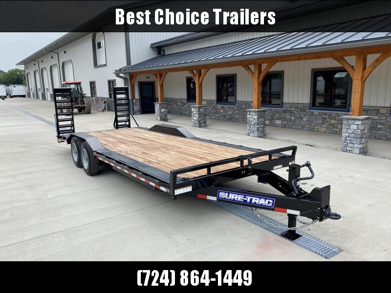 "2021 Sure-Trac 102x22 Buggy Hauler Equipment Trailer 16000# GVW * 102"" DECK WITH DRIVE OVER FENDERS * STAND UP DELUXE RAMPS * 8000# AXLES * HD 12K DROP LEG JACK * 17.5"" RUBBER * OIL BATH HUBS * RUBRAIL/STAKE POCKETS/D-RINGS * HD ADJUSTABLE PINTLE COUPLER"