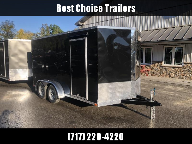 "2021 ITI Cargo 7x14' Enclosed Cargo Trailer 7000# GVW * BLACK EXTERIOR * .030 SEMI-SCREWLESS * 1 PC ROOF * 6'6"" INTERIOR * 3/8"" WALLS * 3/4"" FLOOR * PLYWOOD * 24"" STONEGUARD * HIGH GLOSS PAINTED FRAME * RV DOOR"
