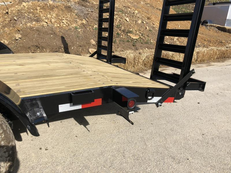 "2021 AMO 7x18' Equipment Trailer 9990# GVW * ALL LED LIGHTS * STAND UP RAMPS * BEAVERTAIL * STACKED 5"" CHANNEL TONGUE/FRAME * DROP LEG JACK * REMOVABLE FENDERS"