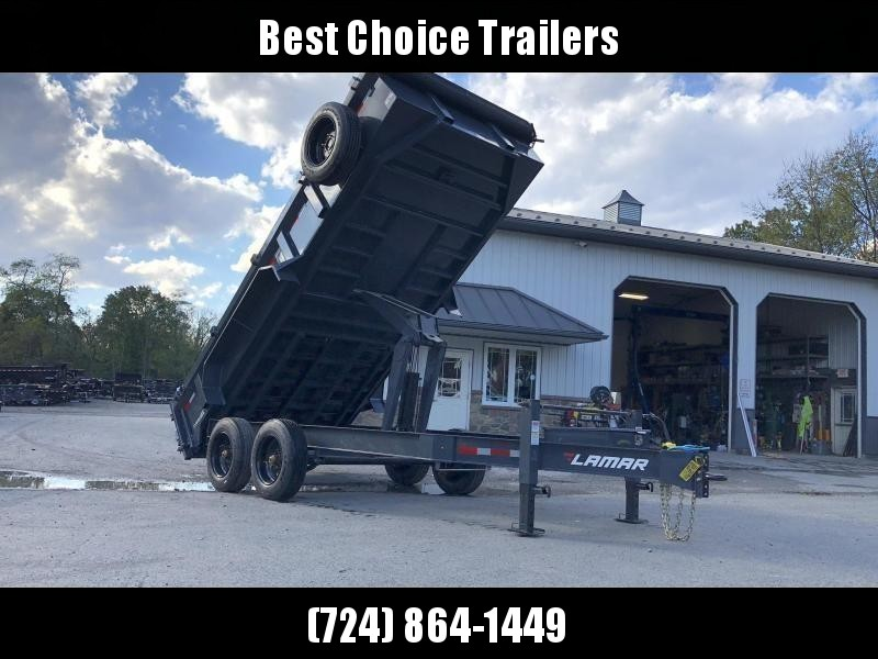 "2021 Lamar 7x14' Dump Trailer 16000# GVW * 8K AXLE UPGRADE * OVERSIZE 6X21.5 11-TON SCISSOR HOIST * 12K JACK * 7GA FLOOR * 14-PLY TIRES * TARP KIT * CHARCOAL * RIGID RAILS * NESTLED I-BEAM FRAME 28"" H * 12"" O.C"