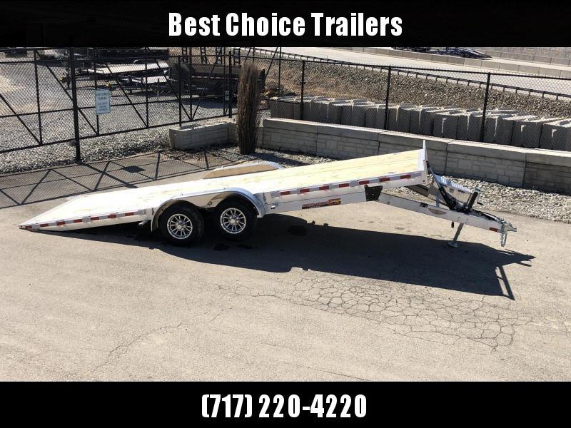"2021 H&H 7x22' Aluminum Power Tilt Car Hauler Trailer 9990# GVW * POWER TILT * TORSION * 4 SWIVEL D-RINGS * 4 EXTRA STAKE POCKETS * ALUMINUM TOOLBOX * 8"" CHANNEL FRAME * REMOVABLE FENDERS * ALUMINUM WHEELS * DROP JACK * INTEGRATED TAIL LIGHTS"