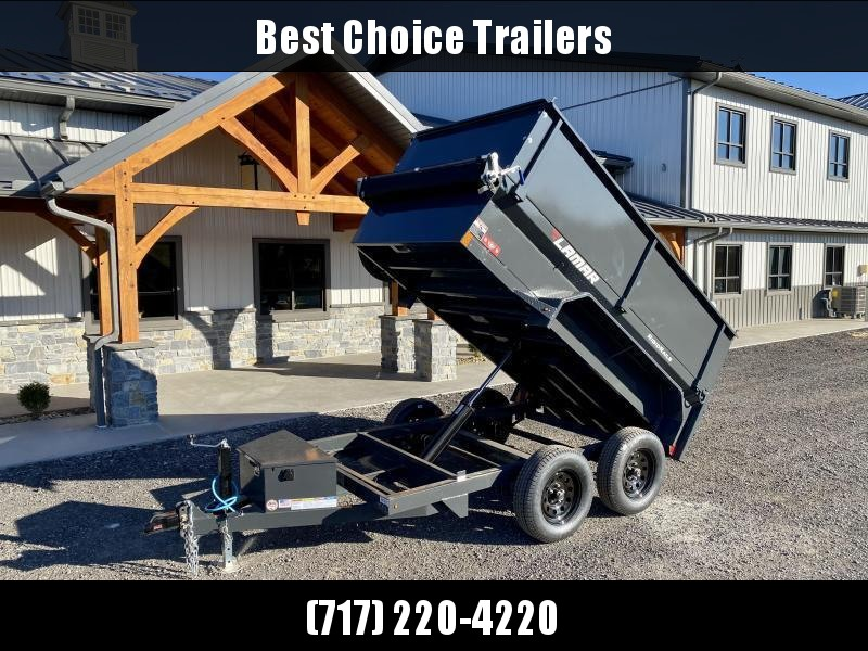 2021 Lamar 5x10' High Side Dump Trailer 7000# GVW * 2' SIDE EXTENSIONS * DELUXE TARP KIT * SPARE TIRE MOUNT * UNDERMOUNT RAMPS * CHARCOAL * ADJUSTABLE COUPLER * RIGID RAILS * 110V CHARGER * DOUBLE CHANNEL FRAME * 10GA FLOOR * CLEARANCE