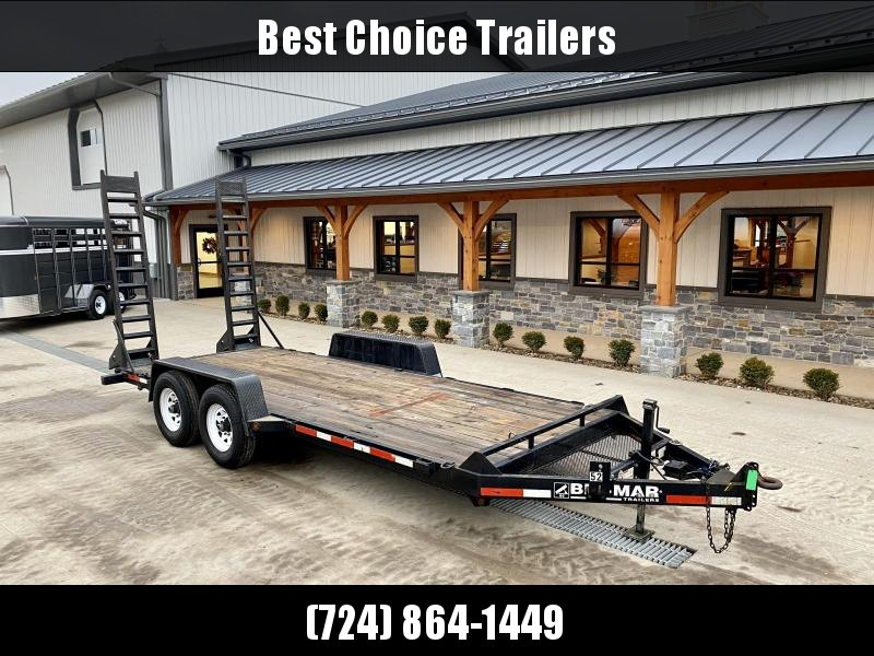 USED 2012 Bri-Mar 7x18' Equipment Trailer 12000# GVW * ADJUSTABLE PINTLE COUPLER * CHAIN TRAY * DROP LEG JACK * D-RINGS/RUBRAIL/STAKE POCKETS * 7' STAND UP RAMPS