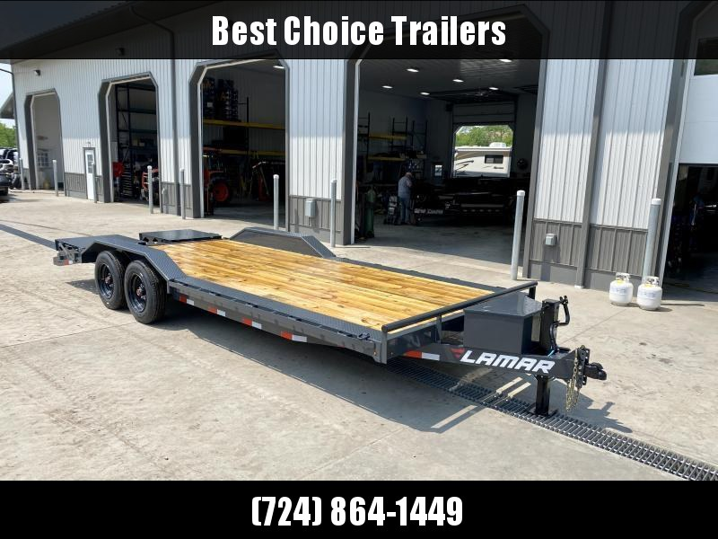 """2021 Lamar 102x22' Equipment Trailer 16000# GVW * FULL WIDTH RAMPS * CHARCOAL * 102"""" DECK * DRIVE OVER FENDERS * CHARCOAL * D-RINGS * 8K AXLES * 17.5"""" RUBBER * OIL BATH HUBS * TOOLBOX * CLEARANCE"""
